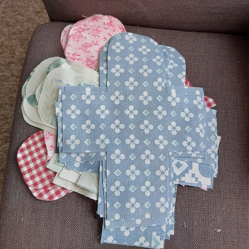 A pile of cuts, ranging from bed sheets to a nice old shirt I think it was
