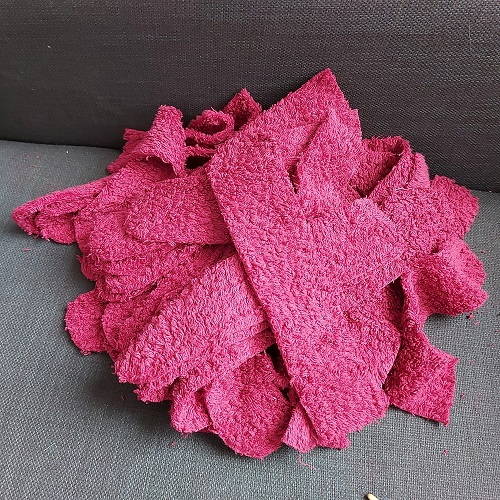 A pile of cuts of towel