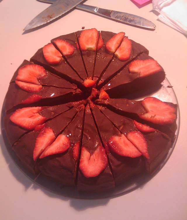 Yummy chocolate brownie torte, it was sweating a little as it had been in the fridge