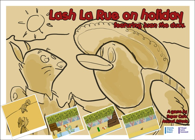 Lash La Rue on holiday featuring Juan the duck